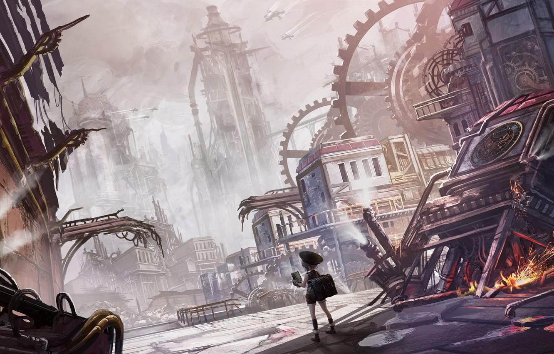 Photo wallpaper the city, fantasy, girl, ruins