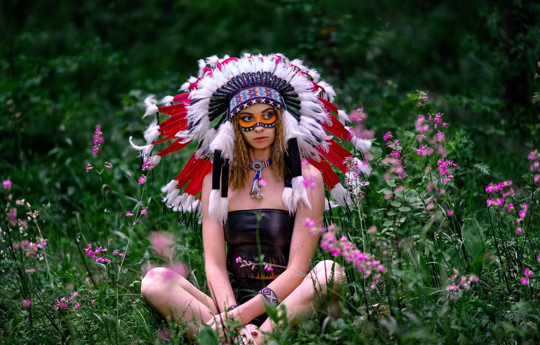 Photo wallpaper grass, girl, flowers, pose, feathers, paint, roach, Vyacheslav Turcan, Evgeniya Ivanova