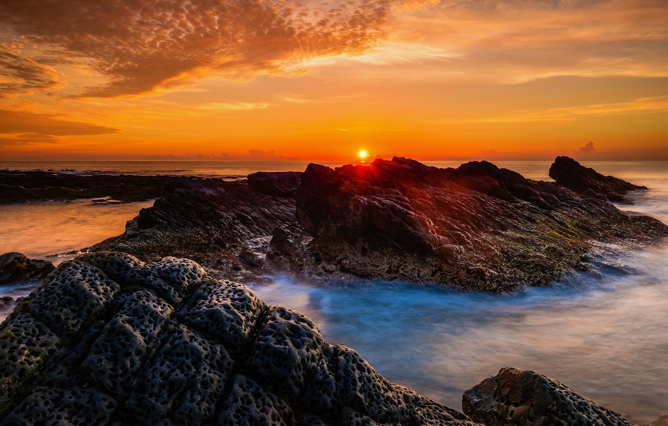 Photo wallpaper sea, the sky, the sun, clouds, rays, sunset, stones, rocks, shore, coast, the evening, horizon, ...