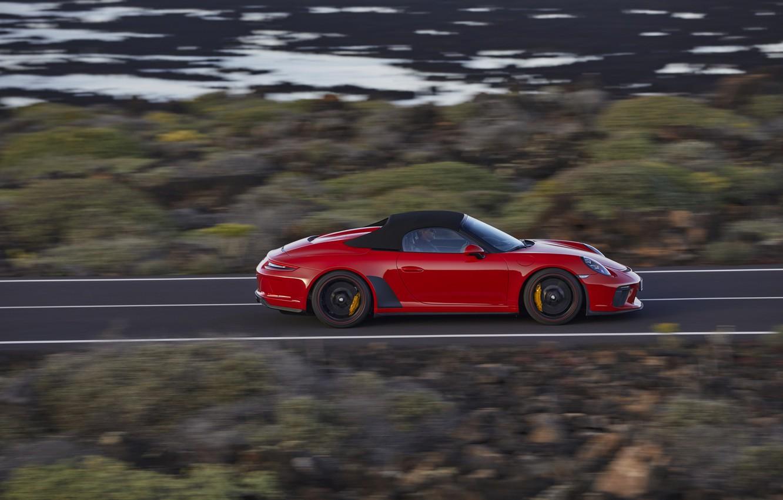 Photo wallpaper red, speed, 911, Porsche, side, Speedster, 991, 2019, 991.2