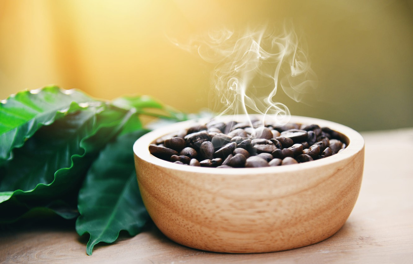 Photo wallpaper leaves, light, background, coffee, couples, Cup, bowl, coffee beans, coffee aroma, hot, fried