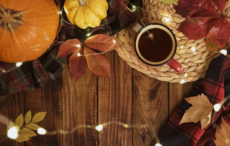 Photo wallpaper autumn, leaves, background, Board, colorful, pumpkin, maple, wood, background, autumn, leaves, cup, autumn, tea, pumpkin, …
