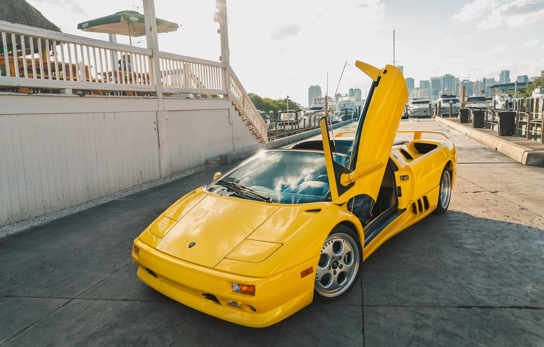 Photo wallpaper Yellow, Supercar, Lamborghini Diablo