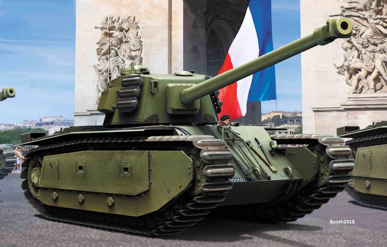 Photo wallpaper France, Flag, Tank, Arch, ARL 44