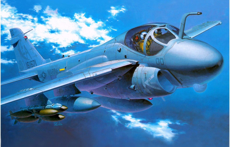 Photo wallpaper the sky, clouds, art, flight, Grumman, USAF, strike aircraft, A-6 Intruder