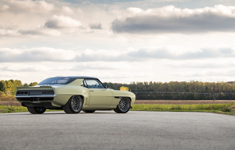 Photo wallpaper Road, Chevrolet, Wheel, 1969, Camaro, Drives, Chevrolet Camaro, Muscle car, Classic car, Wide Body Kit, …