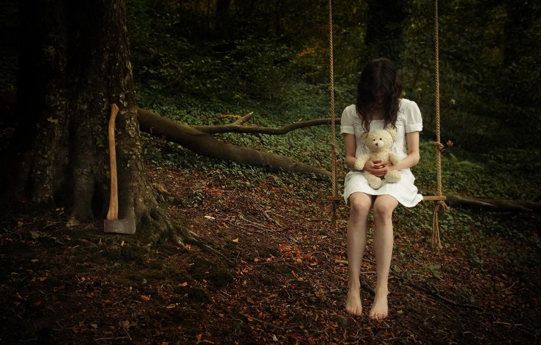 Photo wallpaper girl, swing, bear, axe