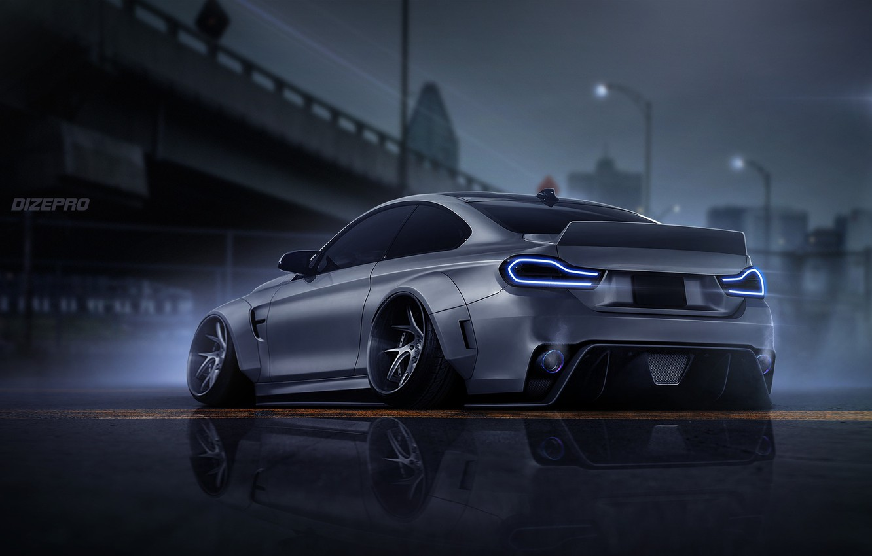 Photo wallpaper Auto, BMW, Machine, Grey, Art, COUPE, Rendering, BMW M4, Dark side, M4, Dmitry Strukov, Dizepro, …