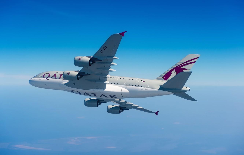 Photo wallpaper Clouds, A380, Airbus, Qatar Airways, Wing, Airbus A380, A passenger plane, Airbus A380-800