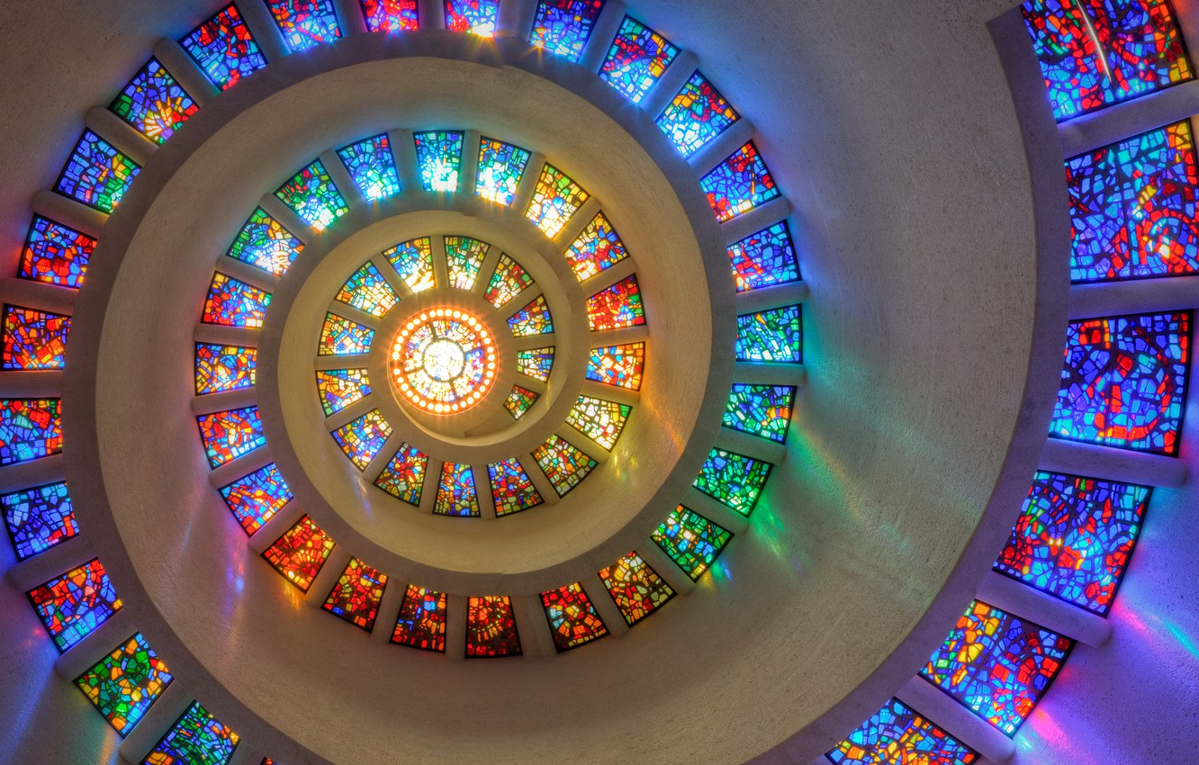Photo wallpaper colorful, window, Texas, Dallas, spiral, stained glass, mesmerizing, Thanksgiving Square Chapel
