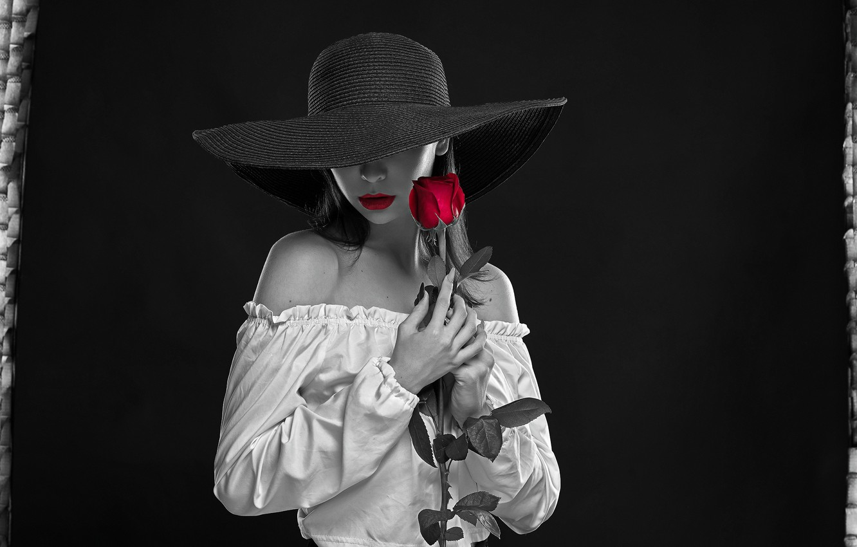 Photo wallpaper flower, girl, pose, style, background, rose, hat, lipstick, sponge, shoulders, monochrome, Aliona Turcan, Vyacheslav Turcan