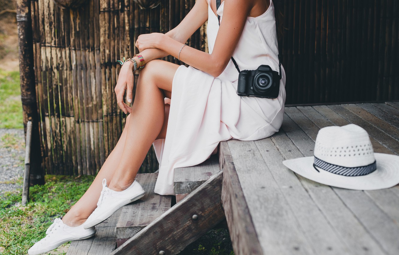 Photo wallpaper relax, legs, woman, rest, hobby, photo camera