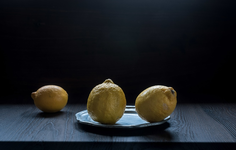 Photo wallpaper plate, fruit, lemons