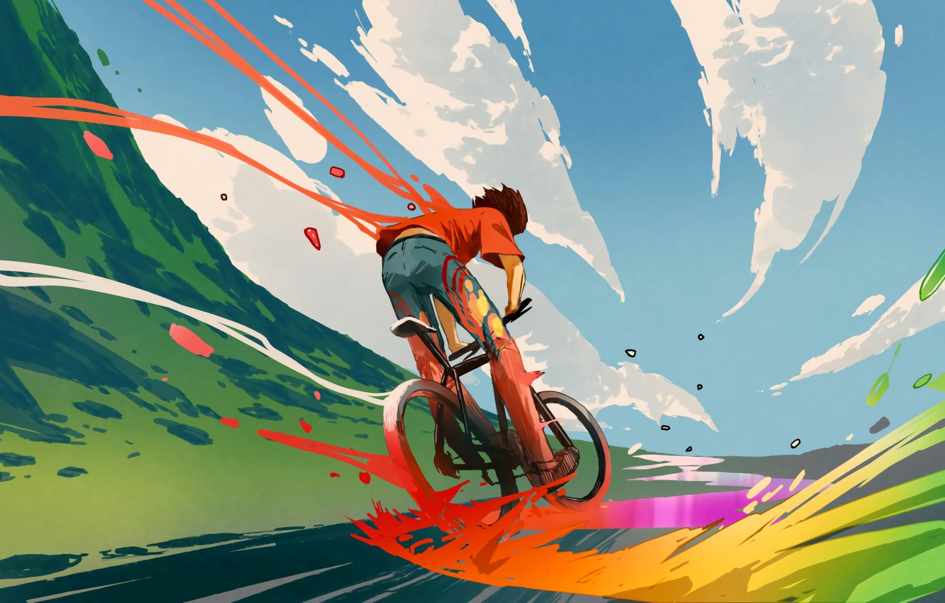 Photo wallpaper Fantasy, Clouds, Sky, Digital Art, Colors, Bicycle, Road, Travel, Concept art, Illustration, Outdoors, Artwork, Outside, …