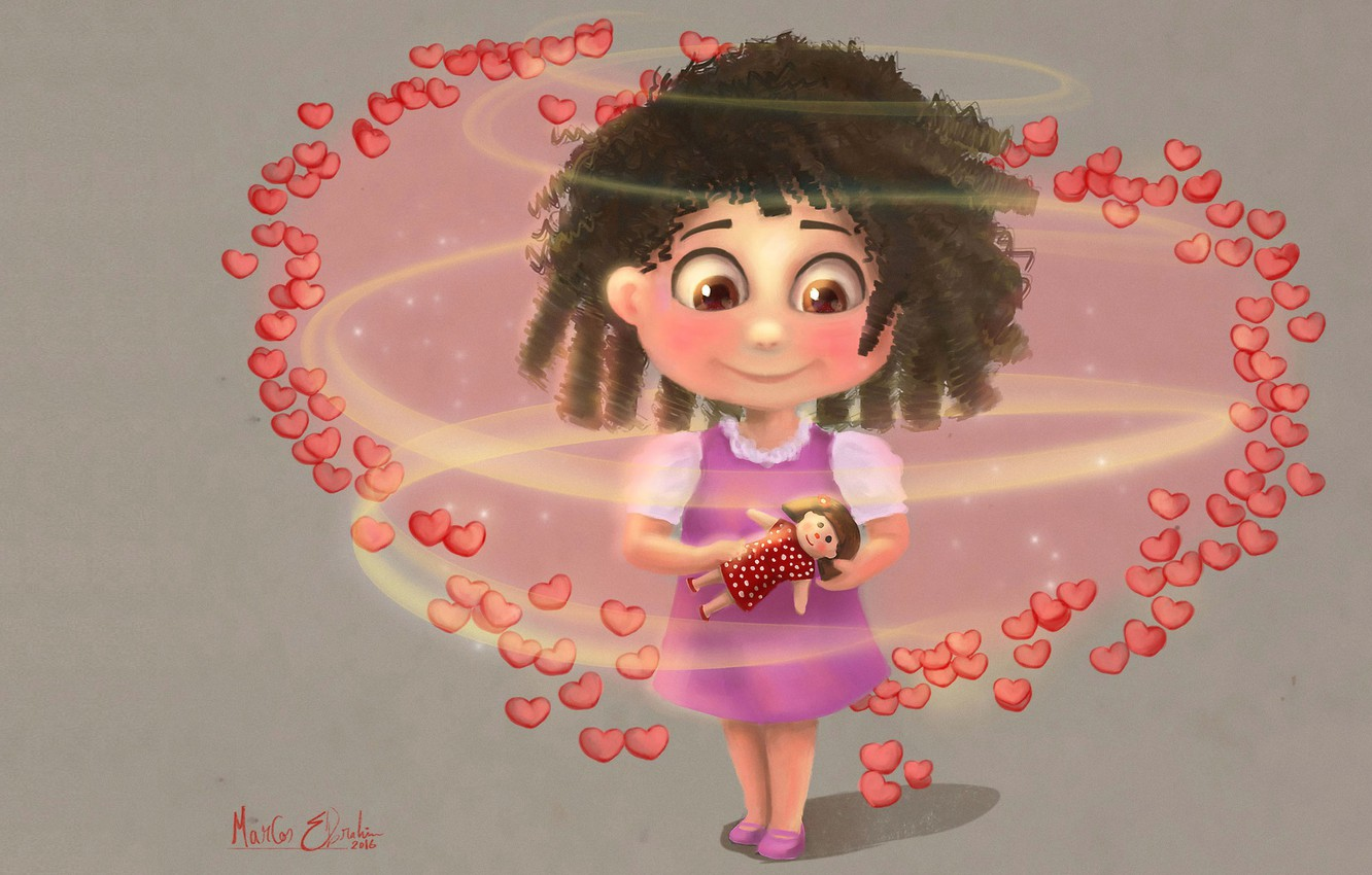 Photo wallpaper doll, art, girl, hearts, children's, Marcos Ebrahim, surrounded by love, Children Illustration/Concept