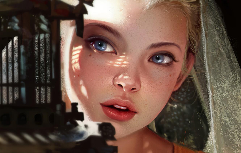 Photo wallpaper Girl, Blonde, Lips, Face, Girl, Eyes, Art, Beautiful, Art, Eyes, Blonde, Beautiful, Face, Lips, by …