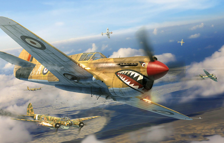 Photo wallpaper Curtiss P-40, Junkers Ju 88, Antonis (rOEN911) Karidis, симулятор военной авиации, Il2 Sturmovik - Desert …