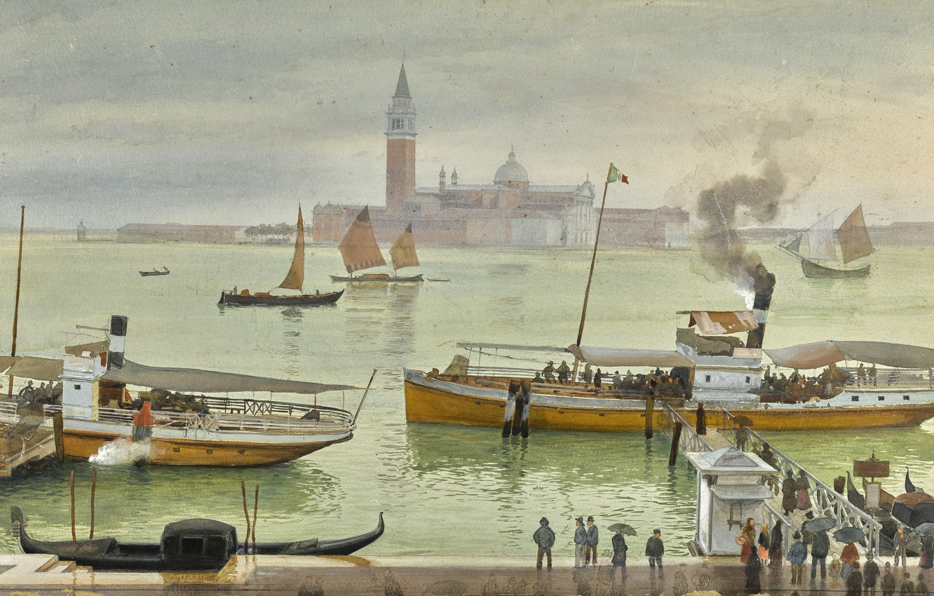 Photo wallpaper Albert Nikolaevich Benois, VIEW OF VENICE FROM, watercolour over pencil heightened with white, THE RIVA …
