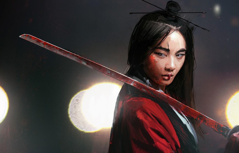 Photo wallpaper Japanese, katana, blade, black hair, katana, in the dark, slant eyes, bushido, woman warrior, Onna …