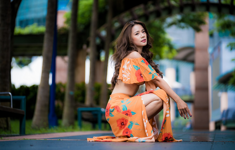 Photo wallpaper girl, Asian, sitting