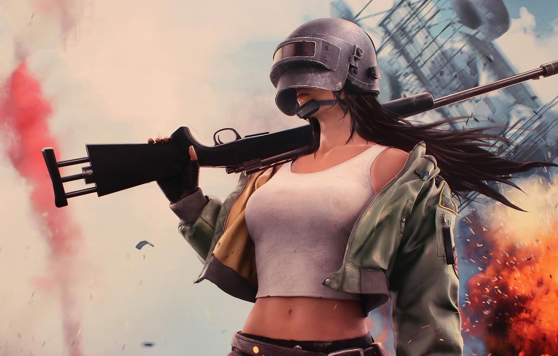 Photo wallpaper girl, weapons, helmet, Woman Warrior, PlayerUnknown's Battlegrounds