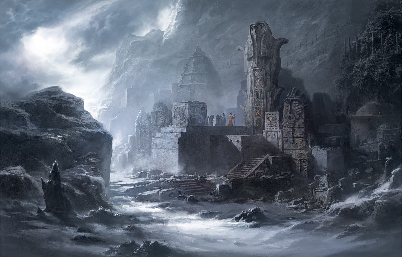 Photo wallpaper dark, fantasy, mountains, people, Temple, ruins, artwork, fantasy art, priests, statues, wizards, magicians