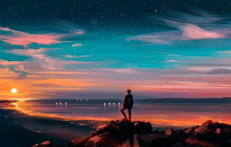 Photo wallpaper Sunset, The sun, The sky, Stars, People, Fantasy, Landscape, Art, Sunset, Concept Art, Characters, Alena …