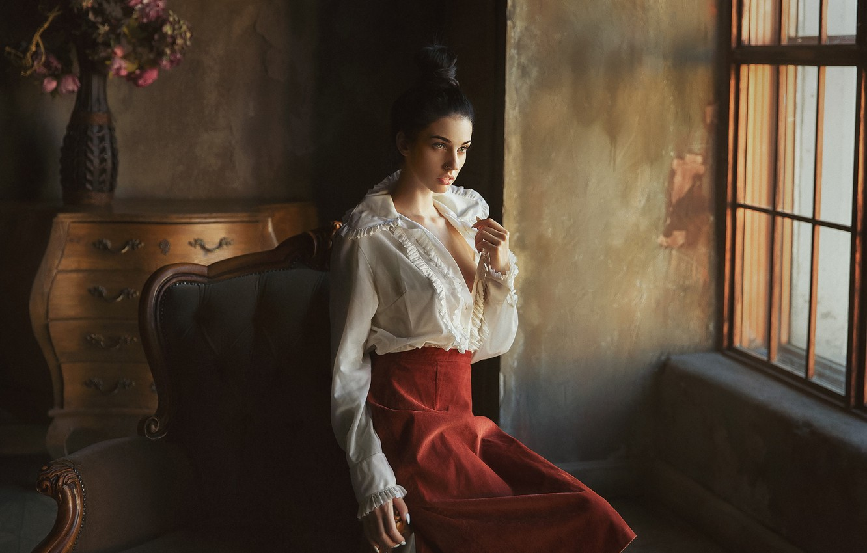 Photo wallpaper pose, model, skirt, chair, window, blouse, hairstyle, Alla Berger, Anastasia Barmina