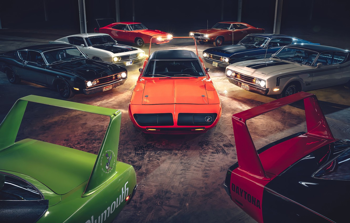 Photo wallpaper daytona, dodge charger, muscle cars, plymouth superbird