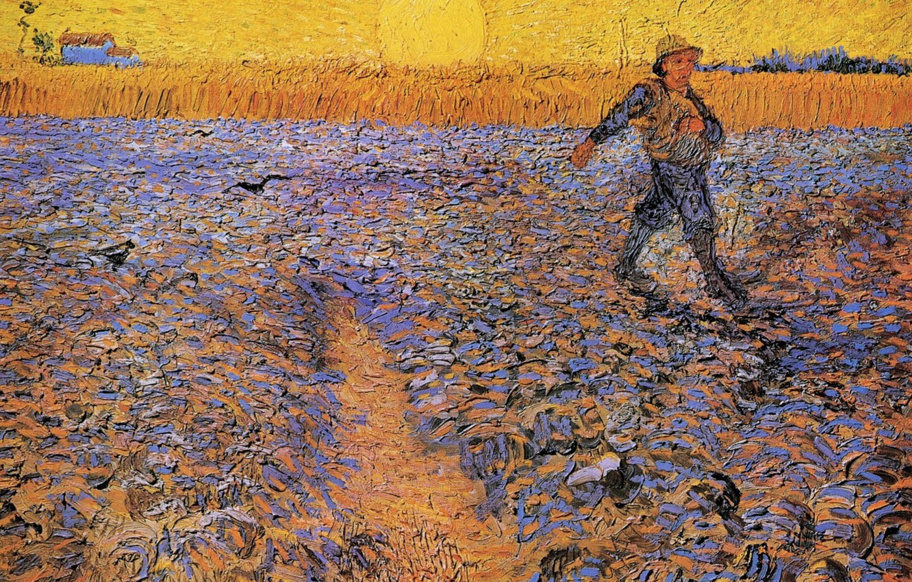 Photo wallpaper field, the sun, Vincent van Gogh, The Sower 4, the guy in the hat, the …