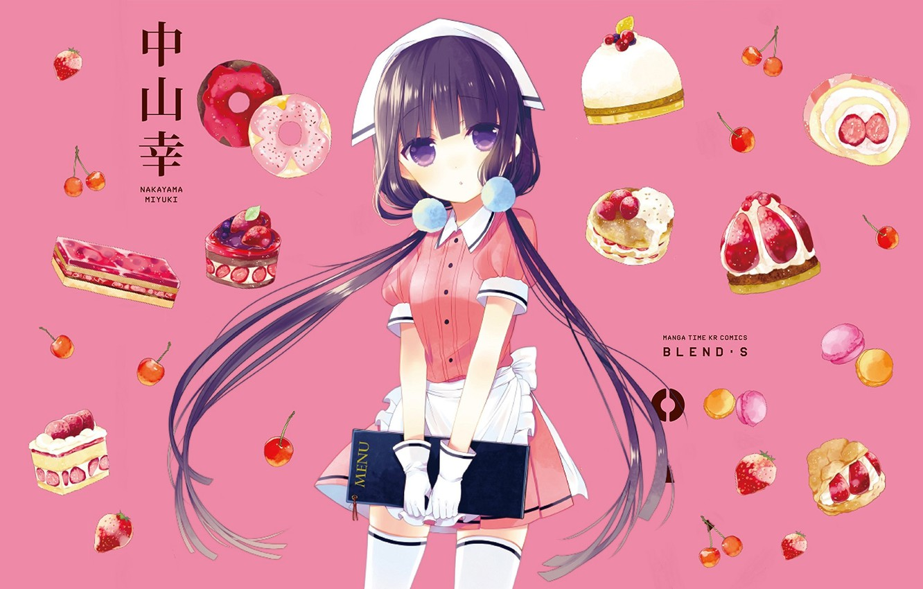 Photo wallpaper stockings, strawberry, sweets, gloves, donuts, the waitress, solitaire, pink background, menu, cherry, two tails, apron, …