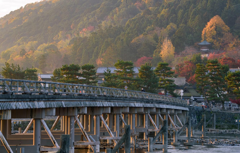 Photo wallpaper Nature, Bridge, River, Japan, Kyoto, Arashiyama, Togetsu-ke