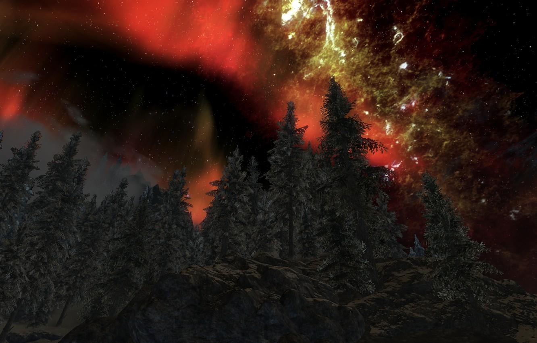 Photo wallpaper the sky, lights, Skyrim