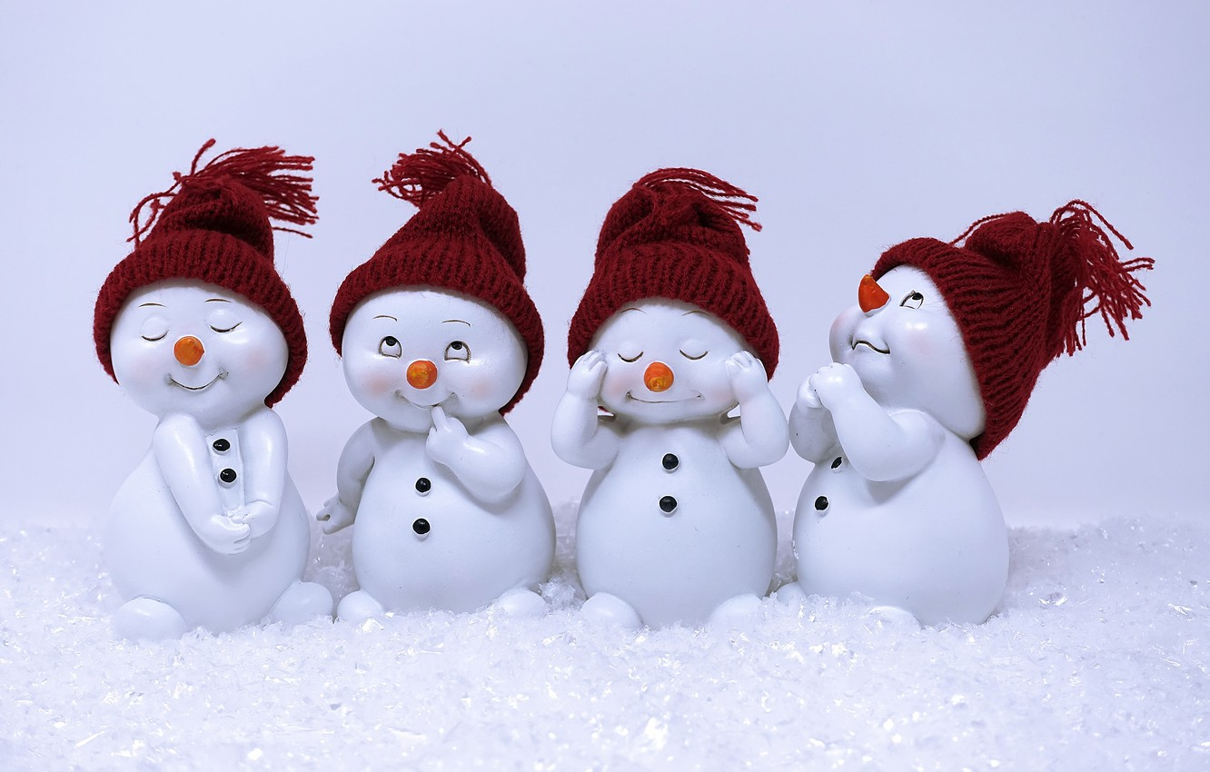 Photo wallpaper winter, Christmas, figure, cute, snowman, funny, souvenir, fun, Christmas motif, fun