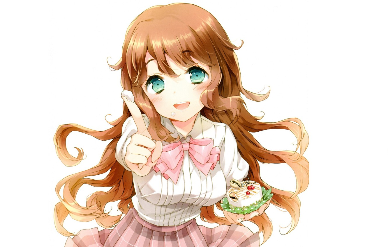 Photo wallpaper white background, schoolgirl, blue eyes, long hair, cream, cake, yummy, treat, Kono Naka ni Hitori …