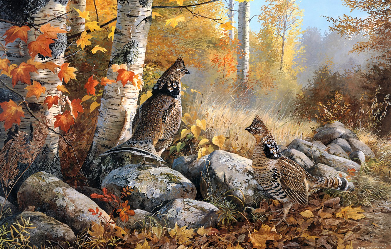 Photo wallpaper autumn, forest, leaves, trees, birds, branches, nature, stones, foliage, figure, graphics, two, picture, art, pair, …