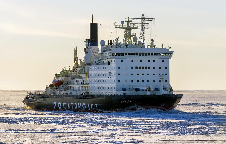 "Photo wallpaper The ocean, Sea, Ice, Icebreaker, The ship, Russia, Atomflot, Nuclear-powered icebreaker, Rosatom, ""Vaigach"", Vaigach, Icebreaker, ..."