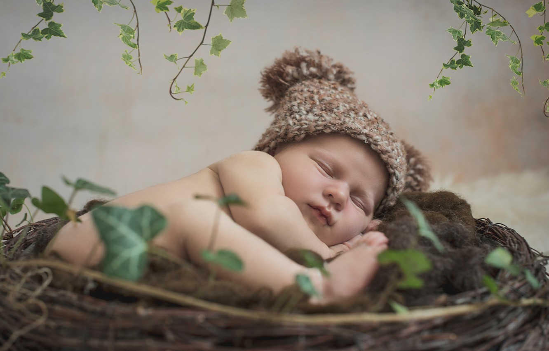 Photo wallpaper sleep, socket, child, cap, baby, sleep