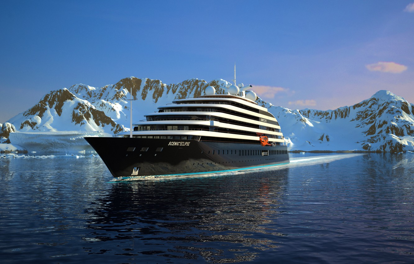 Photo wallpaper Winter, The ocean, Sea, Mountains, Yacht, Antarctica, The ship, Nose, Eclipse, Rendering, Suite, Tank, Scenic …