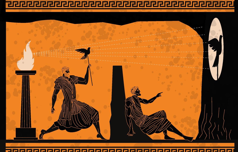Photo wallpaper fun, shadows, greeks, human figures