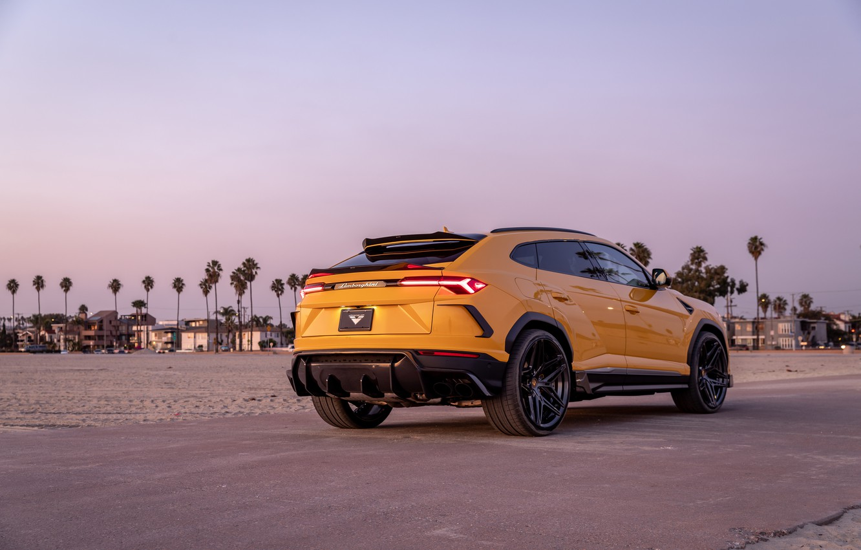Photo wallpaper beach, sunset, lights, the evening, Lamborghini, Vorsteiner, crossover, Urus, 2019