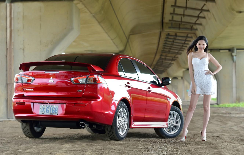 Wallpaper Look Girls Mitsubishi Asian Beautiful Girl Red Car