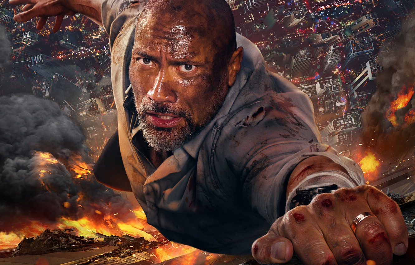 Photo wallpaper fire, fire, smoke, the building, height, the situation, Skyscraper, Thriller, poster, Dwayne Johnson, Dwayne Johnson, ...