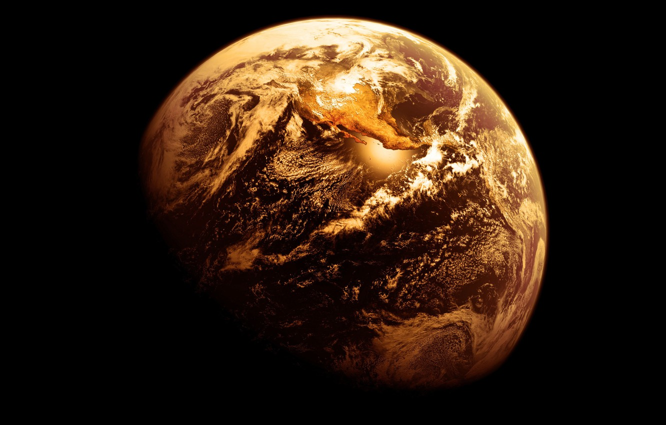 Photo wallpaper gold, Earth, planet