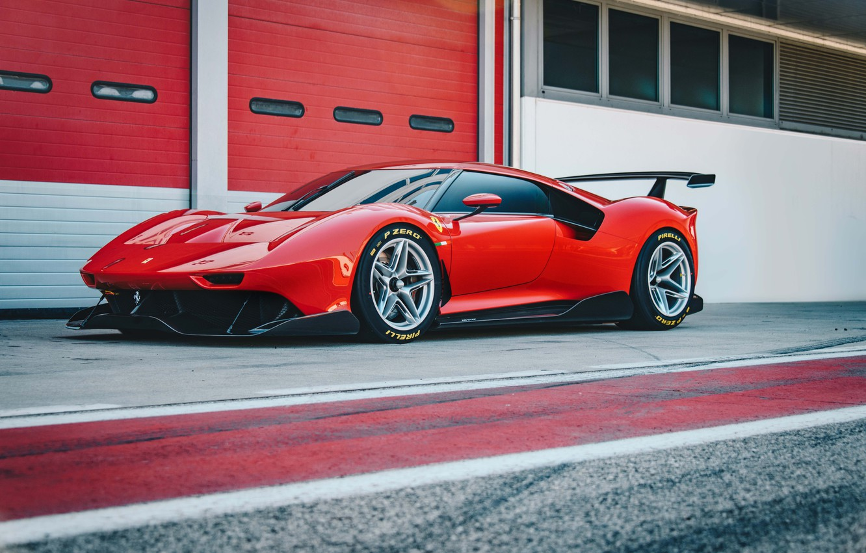 Photo wallpaper machine, asphalt, Ferrari, sports car, drives, boxes, P80/C