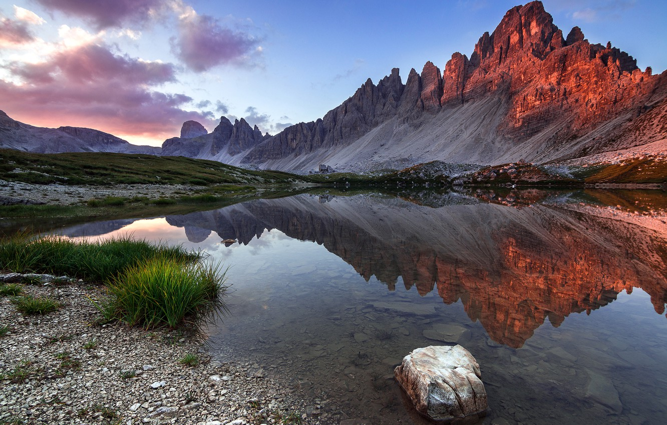 Photo wallpaper grass, landscape, mountains, nature, lake, reflection, stones, dawn, morning, Italy, The Dolomites, Lazar Ioan Ovidiu