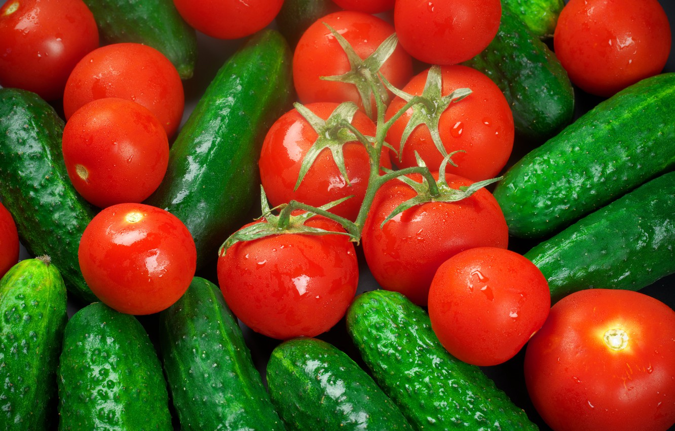 Photo wallpaper harvest, vegetables, tomatoes, cucumbers