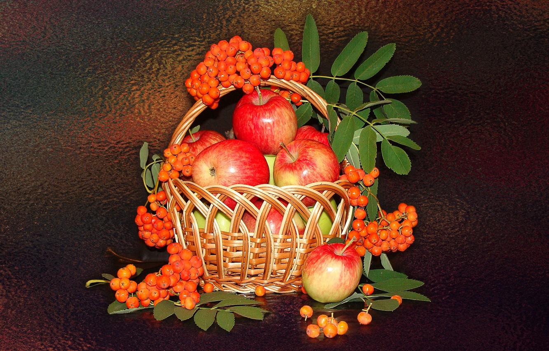 Photo wallpaper mood, apples, still life, basket, Rowan, author's photo by Elena Anikina