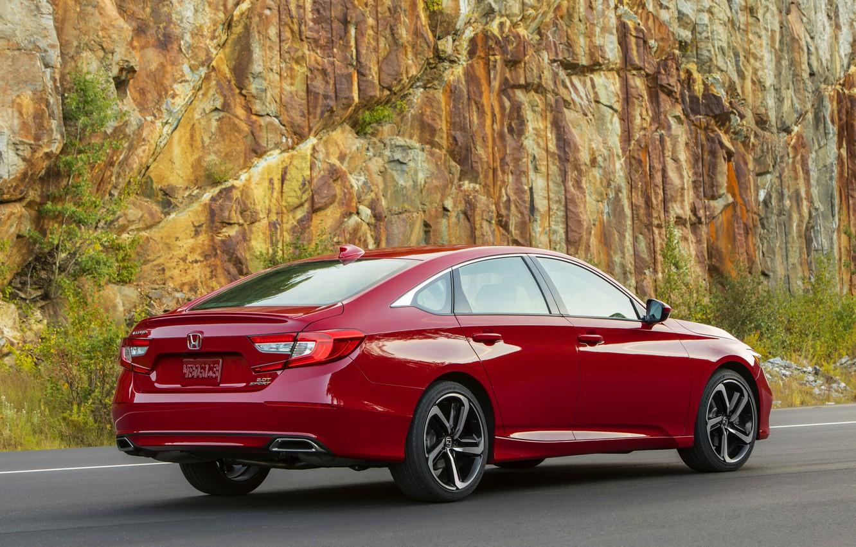 Photo wallpaper red, Honda, Accord, sedan, 2018, four-door, at the rock, 2.0T Sport