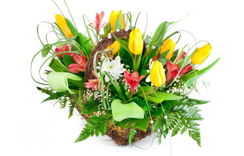 Photo wallpaper flowers, bouquet, tulips, alstremeria